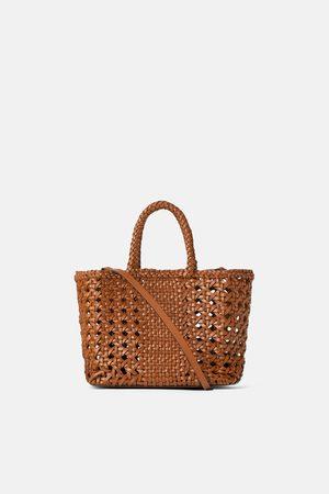 Zara Mini sac shopper en cuir tressé