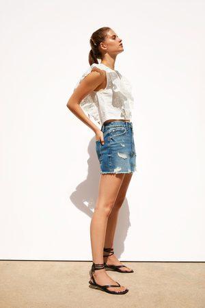 Zara Femme Mini-jupes - Ripped denim mini skirt