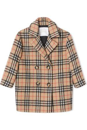 Burberry Manteau à boutonnière croisée et carreaux