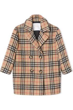 Burberry Vintage Check Alpaca Wool Blend Pea Coat