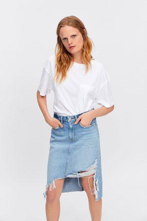 Zara Jupe en jean tube déchirée