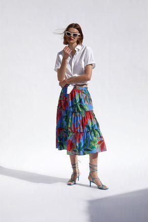 Zara Jupe à imprimé tropical