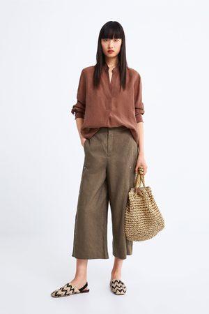 Zara Pantalon en lin large à appliqués