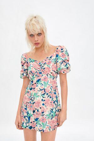 Zara Robe à imprimé floral et manches bouffantes