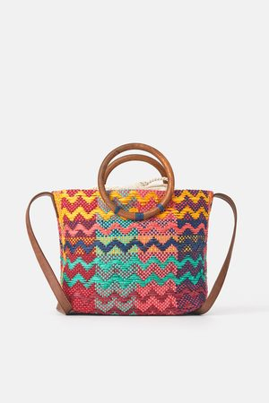Zara Sac shopper multicolore avec anses en bois