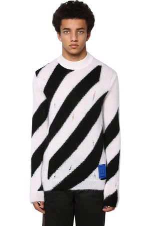 OFF-WHITE Destroyed Diag Mohair Blend Knit Sweater