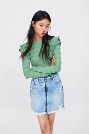 Zara Jupe en jean à déchirures et zip