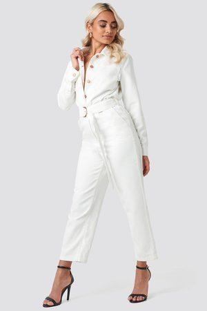 NA-KD Waist Belt Denim Jumpsuit - White