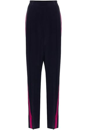 Stella McCartney Pantalon ample à taille haute en crêpe de soie