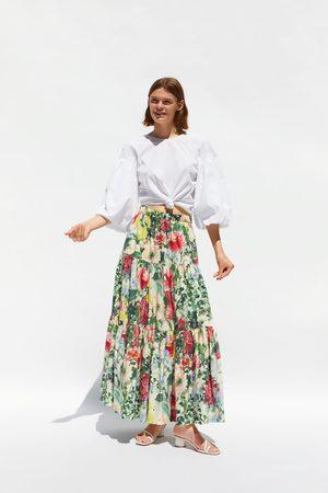 Zara Jupe à imprimé fleuri et volants