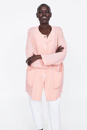 Zara Manteau en lin à poches