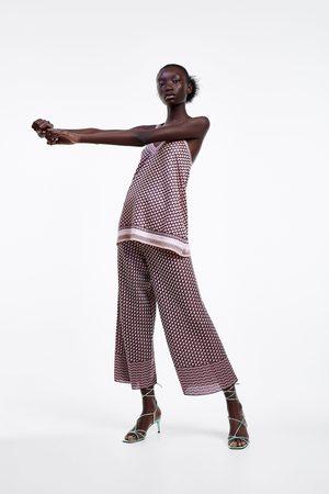 Zara Femme Pantalons - Pantalon imprimé en maille