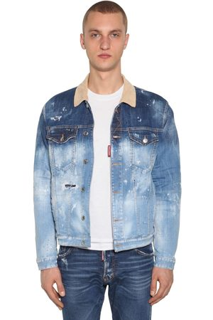 Dsquared2 Veste En Denim De Coton Avec Doublure Carreaux