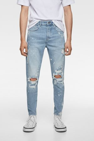 Zara Homme Pantalons Slim & Skinny - Jean skinny à déchirures et éclaboussures