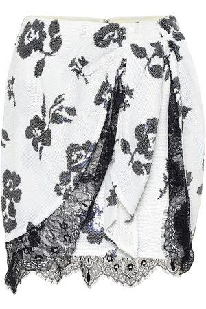 Self-Portrait Mini-jupe à sequins et dentelle