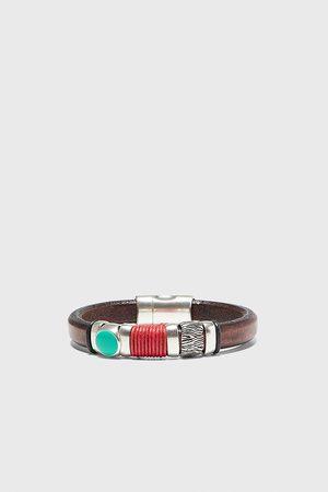Zara Bracelet en matières variées avec cuir et cordon