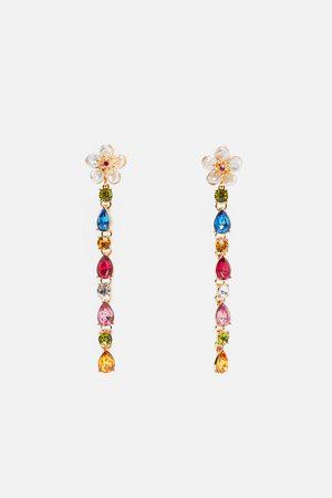 Zara Boucles d'oreilles fleurs avec perles véritables et pierres