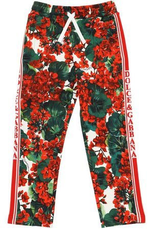 Dolce & Gabbana Fille Joggings - Geranei Print Cotton Sweatpants