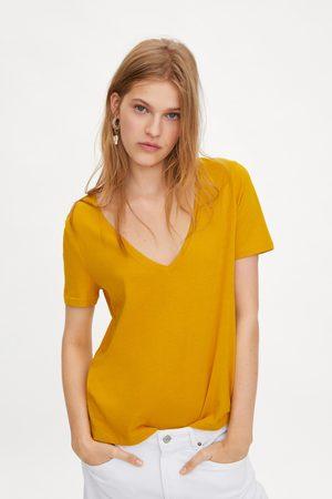 tee shirt jaune femme zara