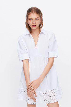 Zara Robe en popeline brodée