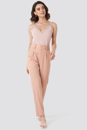 NA-KD Pinstriped Cigarette Pants - Pink