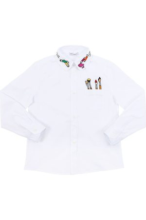 Dolce & Gabbana Chemise En Popeline De Coton Stretch Avec Broderie