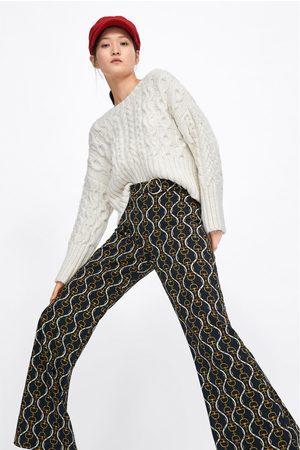 ZARA WOMAN Culotte Pantalon croped Noir Fleurs Floral Imprimé trousers