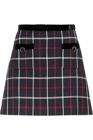 Miu Miu Femme Jupes imprimées - Mini-jupe en coton mélangé à carreaux