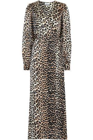 Ganni Femme Robes asymétriques - Robe portefeuille imprimée en soie stretch
