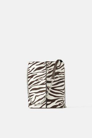 Zara Sac seau bandoulière en cuir à imprimé animalier
