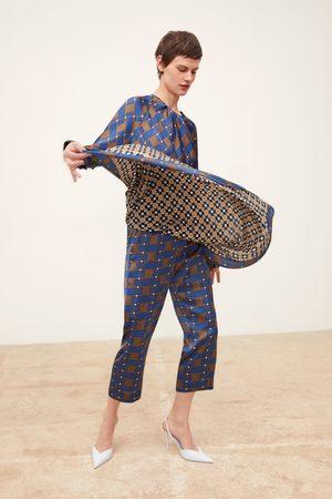 Zara Pantalon portefeuille imprimé en matières variées