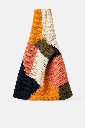 Zara Sac shopper multicolore en coton