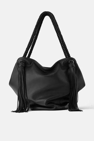 Zara Sac shopper en cuir avec franges