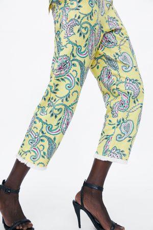 Zara Pantalon imprimé à franges