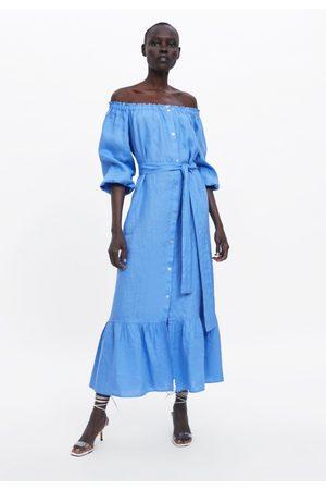 Zara Femme Robes - Robe en lin à volant