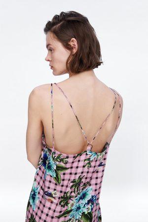 Zara Robe à carreaux à imprimé floral