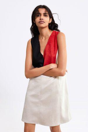 Zara Femme Robes - Robe effet daim color block
