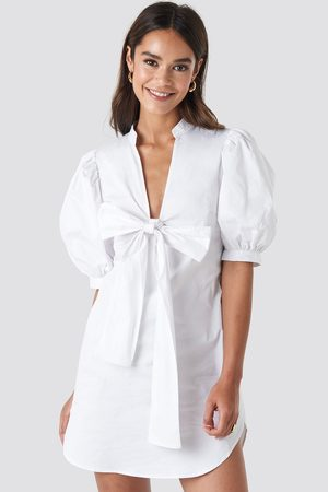 NA-KD Puff Sleeve Tied Front Short Dress - White