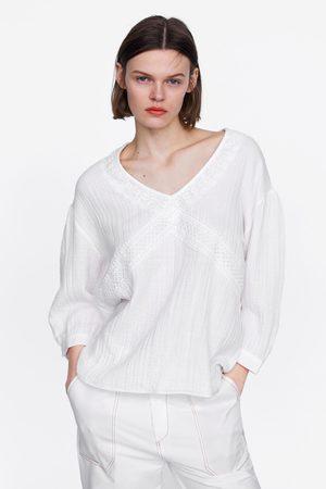 Zara Blouse en coton avec dentelle