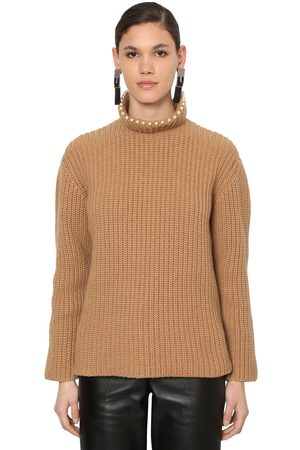 Loewe Ribbed Knit Turtleneck Sweater W/pearls