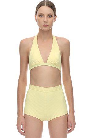 Peony Femme Bikinis - Banana Halter Neck Ribbed Bikini Top