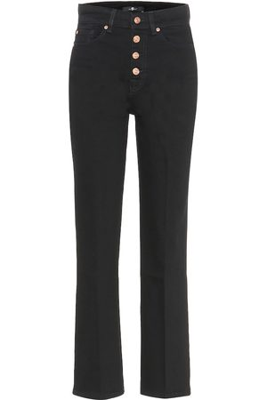 7 for all Mankind Femme Coupe droite - Jean droit Cropped Boot à taille haute