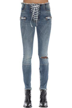 UNRAVEL Femme Skinny - Zipped Skinny Leg Cotton Denim Pants