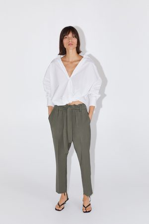 Zara Pantalon avec taille plissée et ceinture