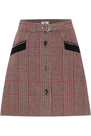 Miu Miu Mini-jupe en laine mélangée à carreaux