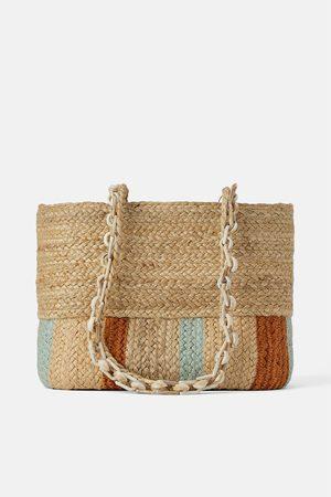Zara Sac shopper en matières naturelles avec anse en écaille