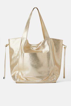 Zara Sac shopper moyen format en cuir