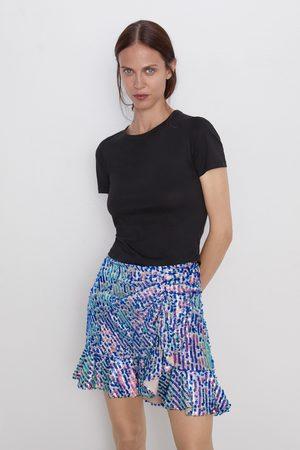 Zara Mini jupe à paillettes et volant