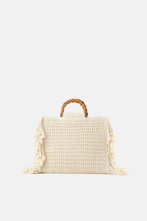 Zara Sac shopper en toile à franges