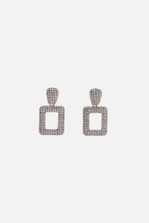 Zara Boucles d'oreilles à strass géométriques